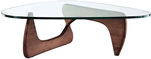 eMod – Noguchi Style Coffee Table Replica Reproduction Glass top Wood Base Walnut