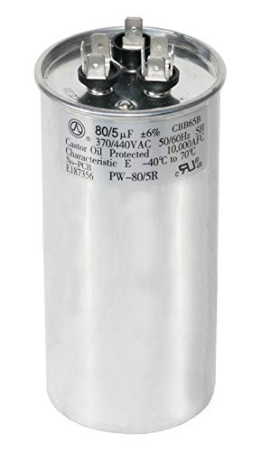 PowerWell 80+5 uf MFD 370 or 440 Volt Dual Run Round Capacitor TP-CAP-80/5/440R Condenser Straight Cool/Heat Pump Air Conditioner