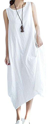 Women's Pocket Cromoncent Sundress Maxi Dresses White Linen Irregular Sleeveless PxppYwdqZ