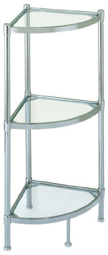 Organize It All 3 Tier Tempered Glass Freestanding Crescent Corner Bathroom Storage Tower