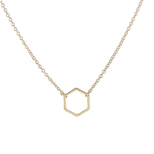 CHUYUN Gold Silver Plated Geometric Square Hollow Pendant Necklace for girl ()