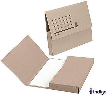 Indigo - Carpeta portadocumentos (285 g/m², capacidad de 32 mm), color marrón juego de 50: Amazon.es: Oficina y papelería