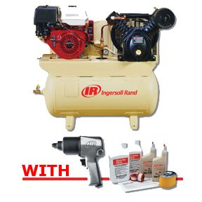 Ingersoll Rand 2475F13GH - 2-Stage Gas-Powered, 13 HP Air Compressor w/32312936 - Start-up Kit & Ingersoll Rand 231C - Impact Wrench