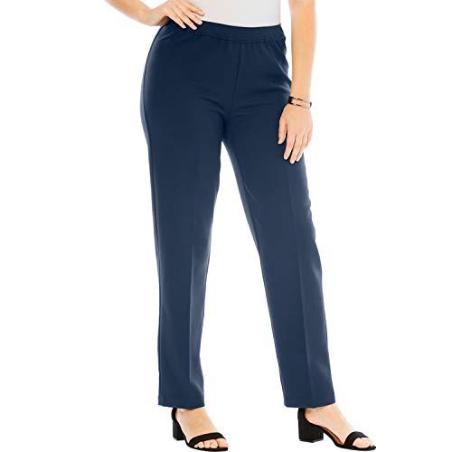 Roamans Women's Plus Size Bend Over Classic Pant - Navy, 16 W