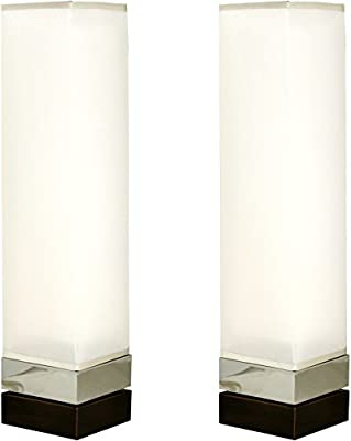 Sheffield Home 23 inch Double Shade Tower Accent Lamp Light - Perfect Living Room Decor, Bedside Lamps for Bedroom, Set of 2