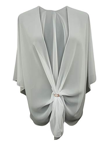 eXcaped Women's Evening Shawl Wrap Sheer Chiffon Open Front Cape and Rose Gold Scarf Ring (Soft White) ()