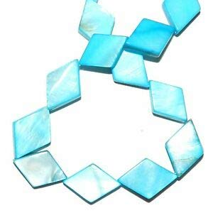(MP1877 Ocean Blue 18mm Diamond Rhombus Mother of Pearl Shell Gemstone Beads 15