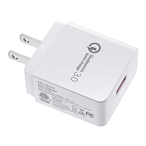 Quick Charge 3.0 USB Wall Charger 18W Compatible iPhone 7/6/Plus, iPad Pro/Air 2/Mini, Samsung Galaxy S9/ S8/Plus, Note 8, LG G6/7, Motorola, Nexus More