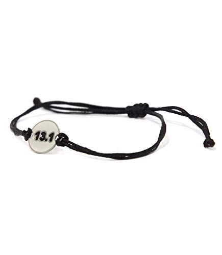 Stainless Steel Half Marathon Runner 13.1 Charm on Double Black String Adjustable Bracelet for Men and Women - Waterproof, Hypoallergenic -