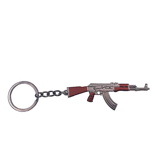 Wang Zhai AKM Keychain for Men Mini Cute Gun Weapon Key Chain Ring for Kids High-end Car Keyring Metal Model AK47 Key Holder