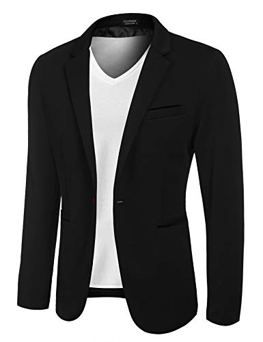 COOFANDY Men's Casual Suit Blazer Jackets Lightweight Sports Coats One Button (XXL, 3-Black)