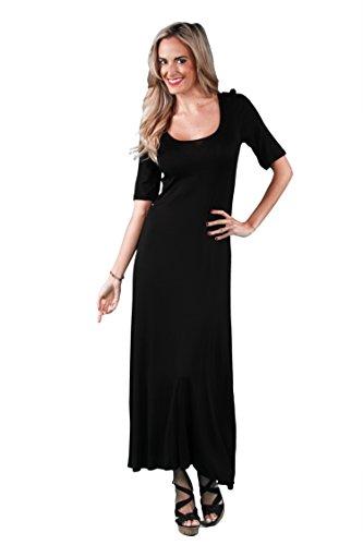 24seven Comfort Apparel Women's Short Sleeve Scoop Neck Maxi Dress - Made in USA - Medium - Black
