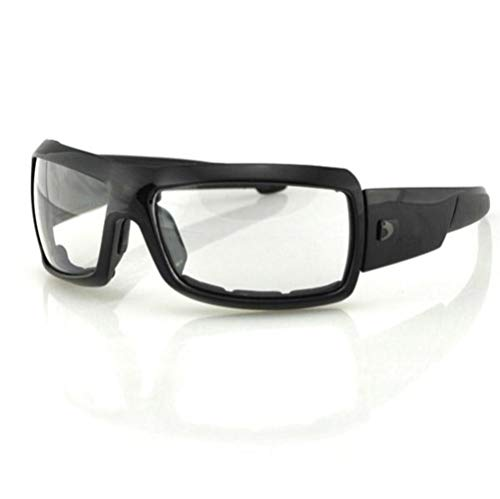 Bobster Trike Square Sunglasses, Black Frame/Clear Lens (Womens Motorcycle Sunglasses Bobster)