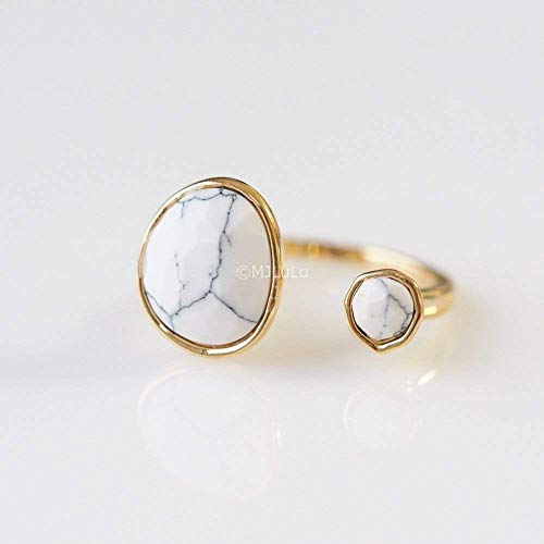 Double Stone White Simulated Howlite Open Circle Ring from MJLuLu
