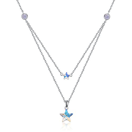 Adjustable Layered Star Choker Necklace Double Star Blue Crystal Birthstone Necklace with Pendant Gifts for Girls Double Star Necklace
