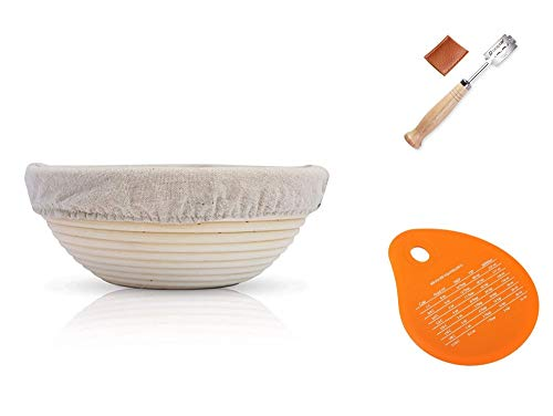 BRIGHTEVA Banneton Bread Proofing Basket Set for Making Sourdough with liner Brotform Natural Rattan 9 Inch Round (Baskets Indonesian Rattan)