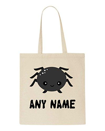 Spider Any Halloween Name Shopper Bag Tote Personalised Kawaii Beige Cute Custom wIq5UC