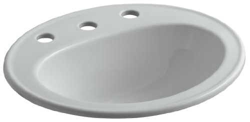 95 Ice Grey Vessels - KOHLER K-2196-8-95 Pennington Self-Rimming Bathroom Sink, Ice Grey
