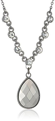 1928 Jewelry Black-Tone Hematite Color Teardrop Adjustable Pendant Necklace, 16