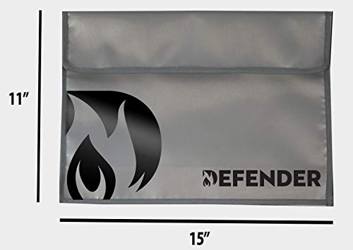 Defender Fireproof and Water Resistant Document Bag | Silicone Coated Fiberglass Non-Itchy | Velcro Closure to Keep Valuables Protected | Large 11x15 Size for Legal Documents, Currency, Photos, Tabl
