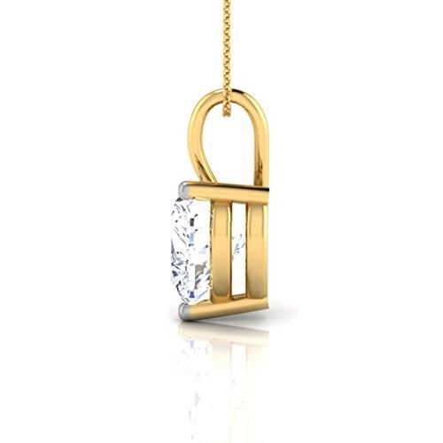 Or jaune 14K 0,4carat au total Round-cut-diamond (IJ   SI) Pendentif