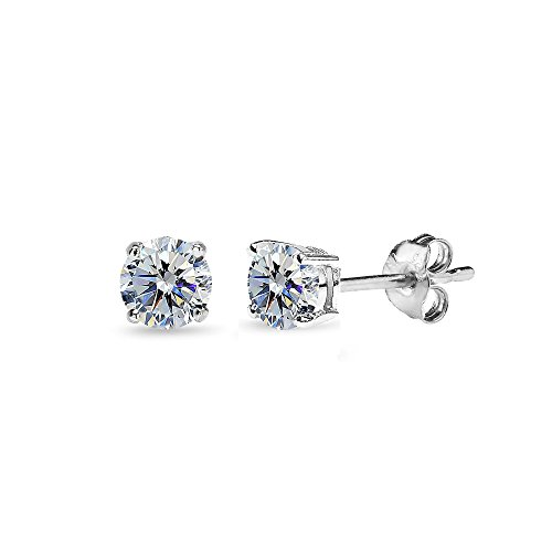 (Sterling Silver 4mm Clear Stud Earrings Made with Swarovski)