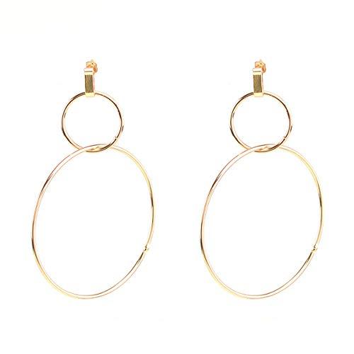 Gudukt Double Link Earrings Simple Double Circle Ring Drop Earrings Double Ring Dangle Earrings for Women ()