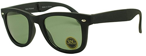 Sunglass Stop - Original 80's Compact Foldable Wayfarer Sunglasses with Glass Lenses - Single or 2 Pack (Matte Black | Classic Green - Wayfarer Foldable