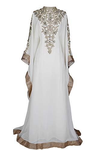 Royal Bliss Kaftan For Women-Long Sleeve Maxi Dress, Gown Formal Lounge Wear (Ivory), One Size