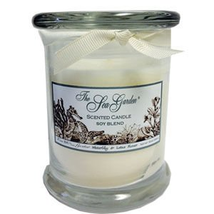 Soy Scents Garden Candle (Sprinkles Gifts Sea Garden Kiss me in the Garden Glass Jar Beach Theme Light Scent blend of soy wax waterlily & lotus flower)