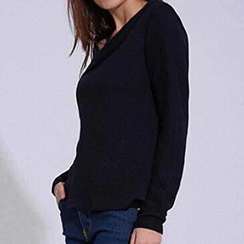 Nero Tinta Manica Camicia Unita alla Xmiral Donna Lunga Francese zpq1vn8a