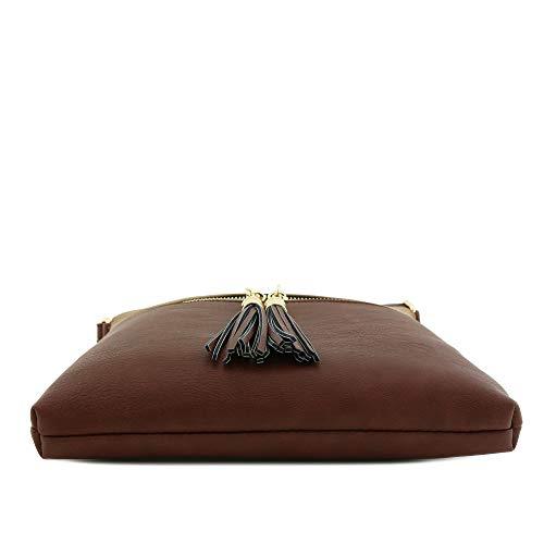 Bag Crossbody Tassel Pocket Zip Brown Stone qpxRftRw7