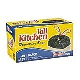 Trash Bags, Drawstring, Tall Kitchen Garbage Bags, 13 Gal, Black, 40 Count