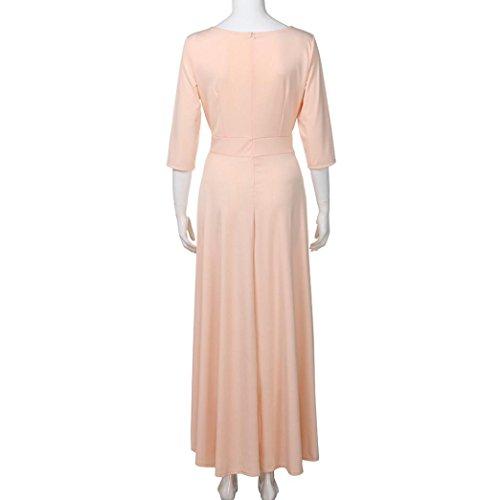 Abendkleid Huhu833 Frauen OAusschnitt halbes Hülsen Bodenlänge Kleid ...