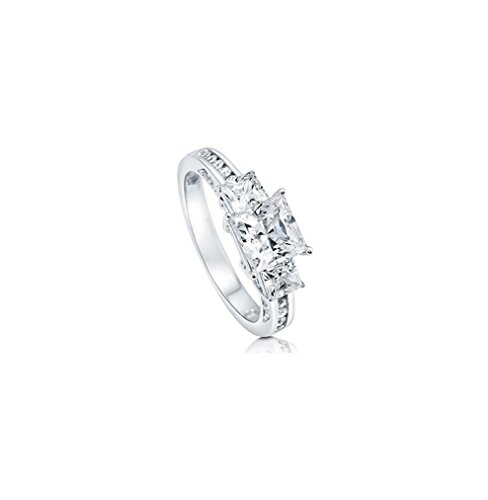 1.45 Ct Princess Diamond (Three Stone Ring 925 Sterling Silver 1.45Ct D/VVS White Princess Cut Diamond Anniversary,Wedding,Engagement,Love,Party Ring Set US Size 4-13 Available.)