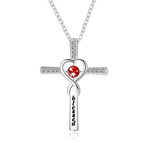 Birthday Gift Silver Infinity Love Heart God Cross Pendant Blessed Necklace with 12 Birthstone Gifts for Christian Women Religious Necklace CZ Pendant Necklace (Garnet) ()