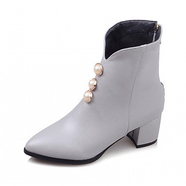 Booties Ankle Fashion Comfort Leatherette Boots UK10 CN46 Pu Boots Pointed Chunky Novelty Pearl Toe Heel Shoes Winter Imitation EU44 Fall Women'S RTRY US12 Boots wfaZq