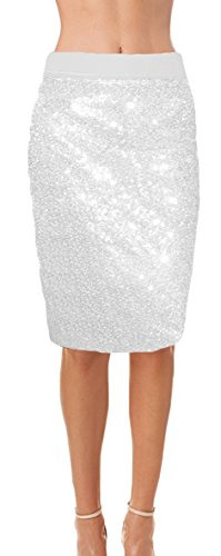 Ooh La La Womens Fully Lined Sequin Pencil Skirt with Soft Stretch Waistband (Large, White) (Fully Skirt Pencil Lined)