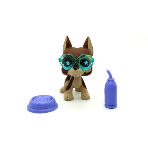 Littlest Pet Shop LPS Great Dane Dog #817 Star Eye Glasses Bottle Plate Toy -