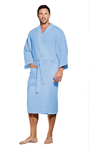 - Turquaz Linen Lightweight Long Waffle Kimono Spa Robe for Men (One Size, Blue)