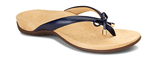 Vionic Women's Rest Bella II Toepost Sandal - Ladies Flip Flop with Concealed Orthotic Arch Support Navy Lizard 8 Wide US