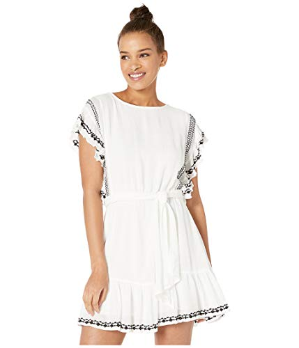 Free People Womens Embroidered Weekend Mini Dress Black-Ivory S