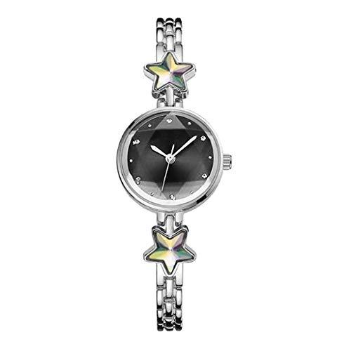 MINILUJIA Women's Quartz Analog Rhinestones Shining Bling with Stars Dial Luxury Dress Wrist Watches (Silver+Black)