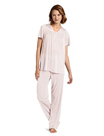Exquisite Form Women's Colortura Short Sleeve Pajama,Pink Champagne,Small