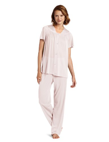 Exquisite Form Women's Coloratura Sleepwear Short Sleeve Pajama Set 90107, Pink Champagne, Large