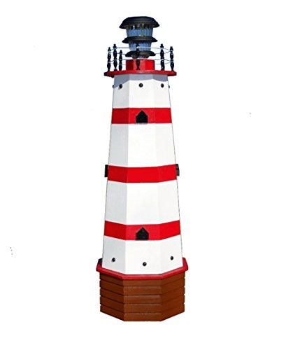 Solar Lighthouse Wooden Decorative Lawn