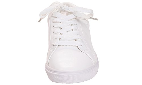 Feversole WHITE Sneaker PLAIN Leather Featured Women's Lace PU Up 6F61qwr