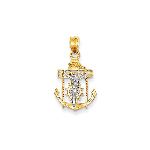 ICE CARATS 14k Two Tone Yellow Gold Nautical Anchor Ship Wheel Mariners Cross Religious Pendant Charm Necklace Mariner Fine Jewelry Ideal Gifts For Women Gift Set From - Gold Ships Wheel