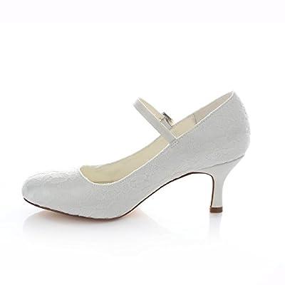 Emily Bridal Wedding Shoes Women's Lace Stiletto Heel Closed Toe Pumps Buckle
