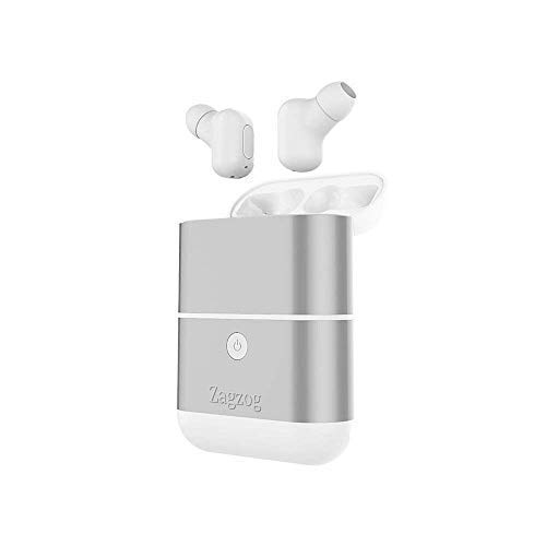 Zagzog Bluetooth Headphones Wireless V5.0 Noise-Cancelling Waterproof In-Ear Sport Earphones Portable Siri Support Built-In Mic Earbuds with 1600mah Charging Case and Powerbank for iOS Android
